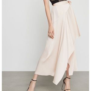 Bcbg Blush pink satin asymmetrical wrap skirt-